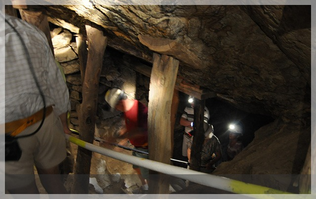 Emerging from the mine shaft.